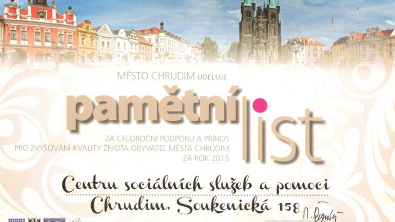 Pamětní list města Chrudim – 2015